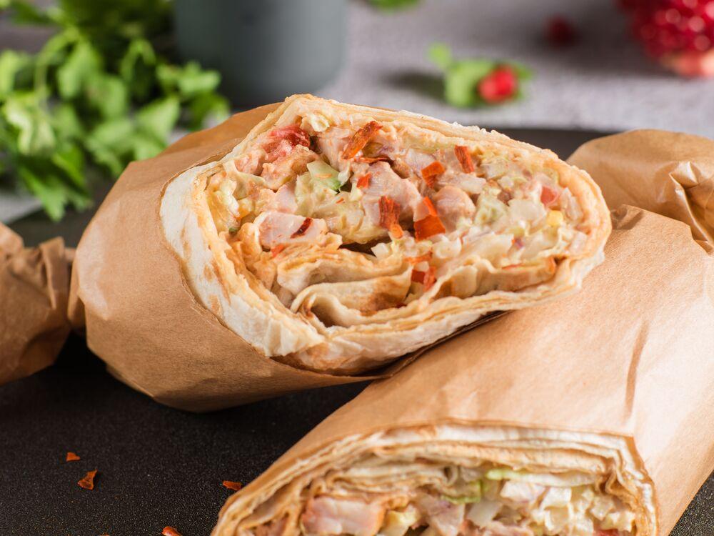 Shawarma with sauce Satsebeli