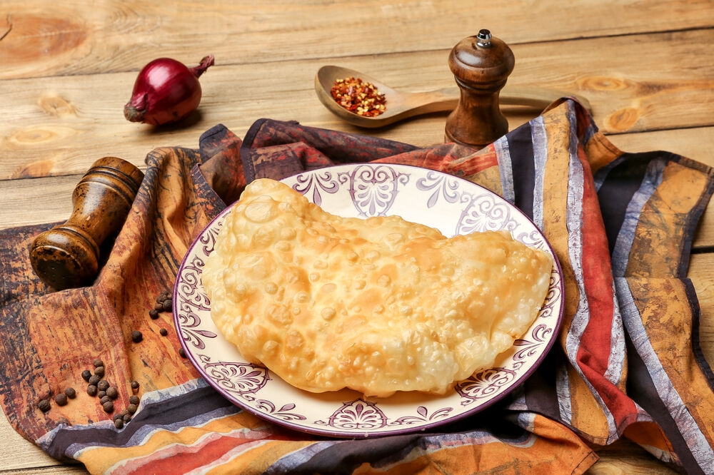 Cheburek with veal meat