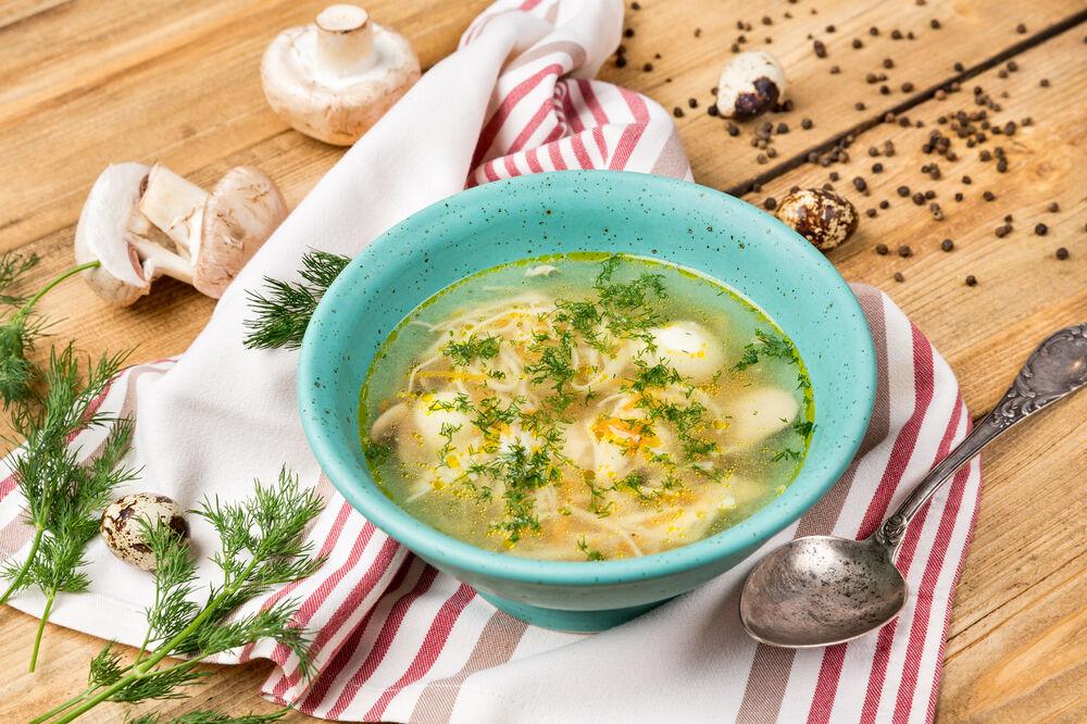 Homemade noodles soup