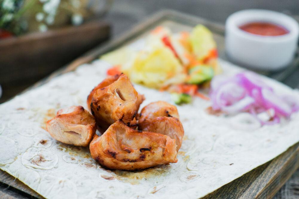 Chicken leg quarter shish-kebab