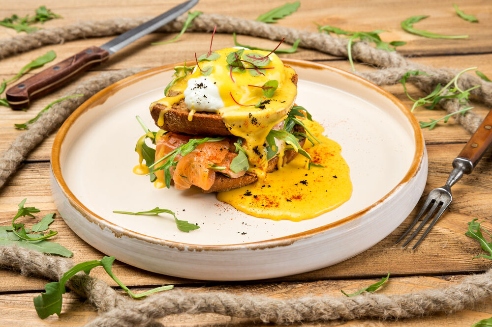 Egg Benedict with a salmon of a chief salting