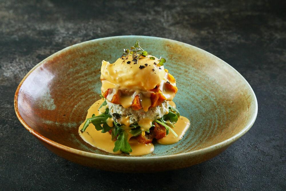 Potato waffles with cod