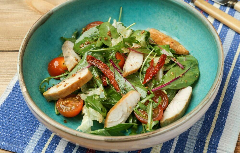 Salad with sturgeon