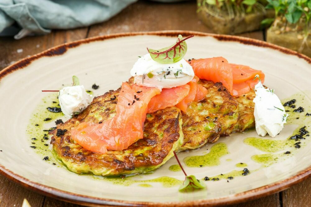 Fritters with a salmon