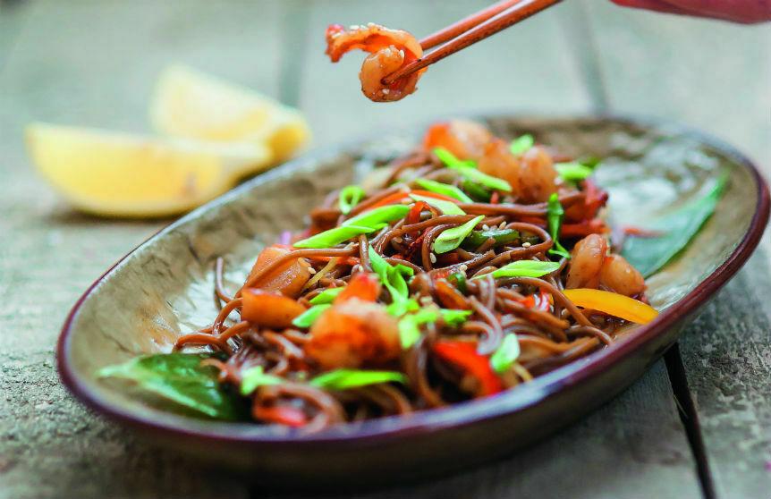 Buckwheat soba noodles with shrimps