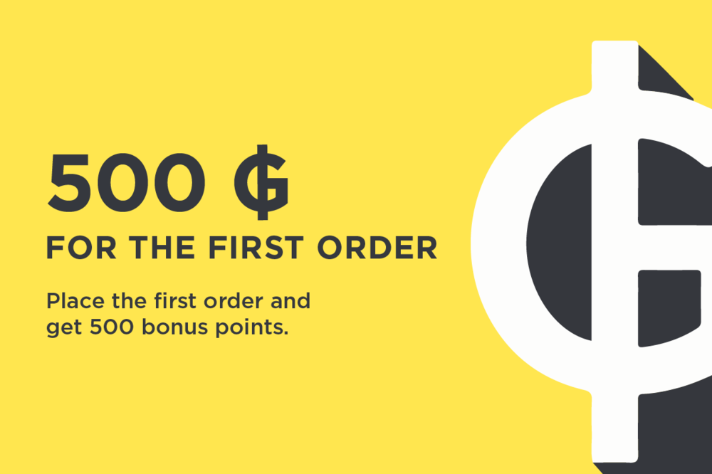 We present +500 bonus points for first order