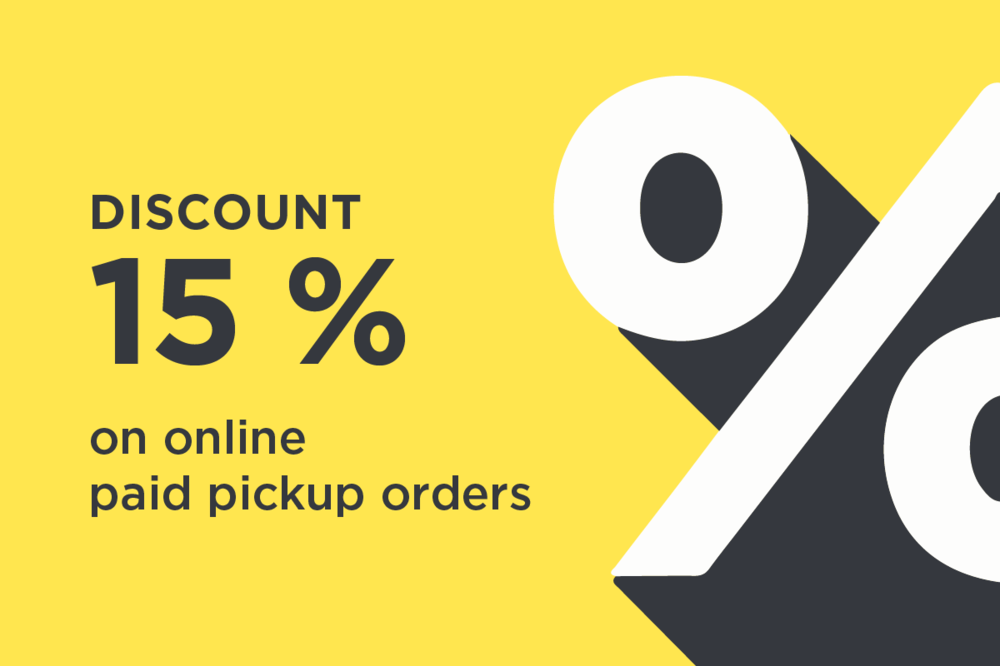 15% discount on pickup